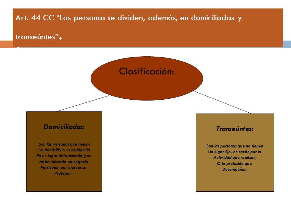 Art. 44 CC Las personas se dividen, además, en domiciliadas y transeúntes .