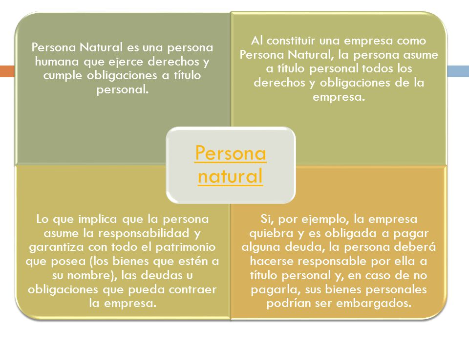Persona natural Persona Natural es una persona humana que ejerce derechos y cumple obligaciones a título personal.