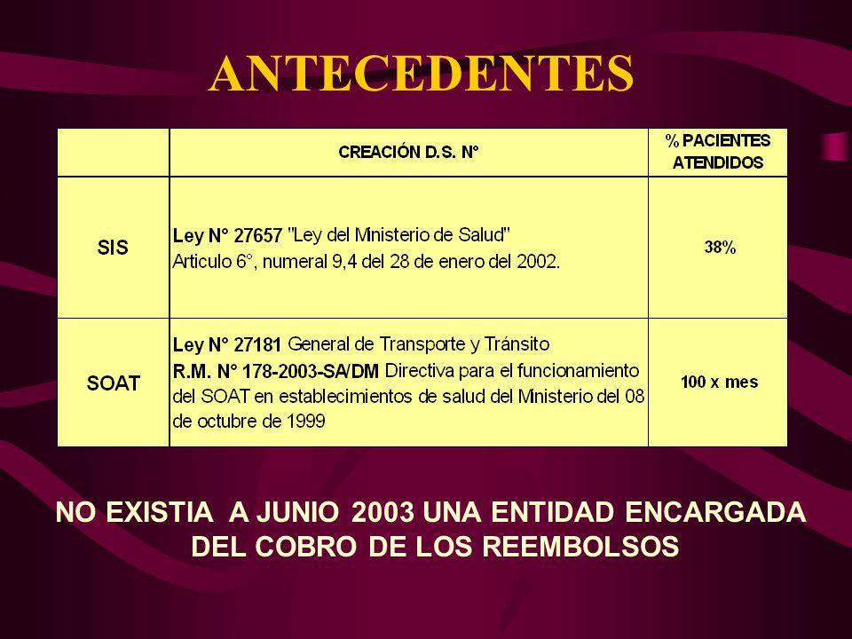 ANTECEDENTES NO EXISTIA A JUNIO 2003 UNA ENTIDAD ENCARGADA