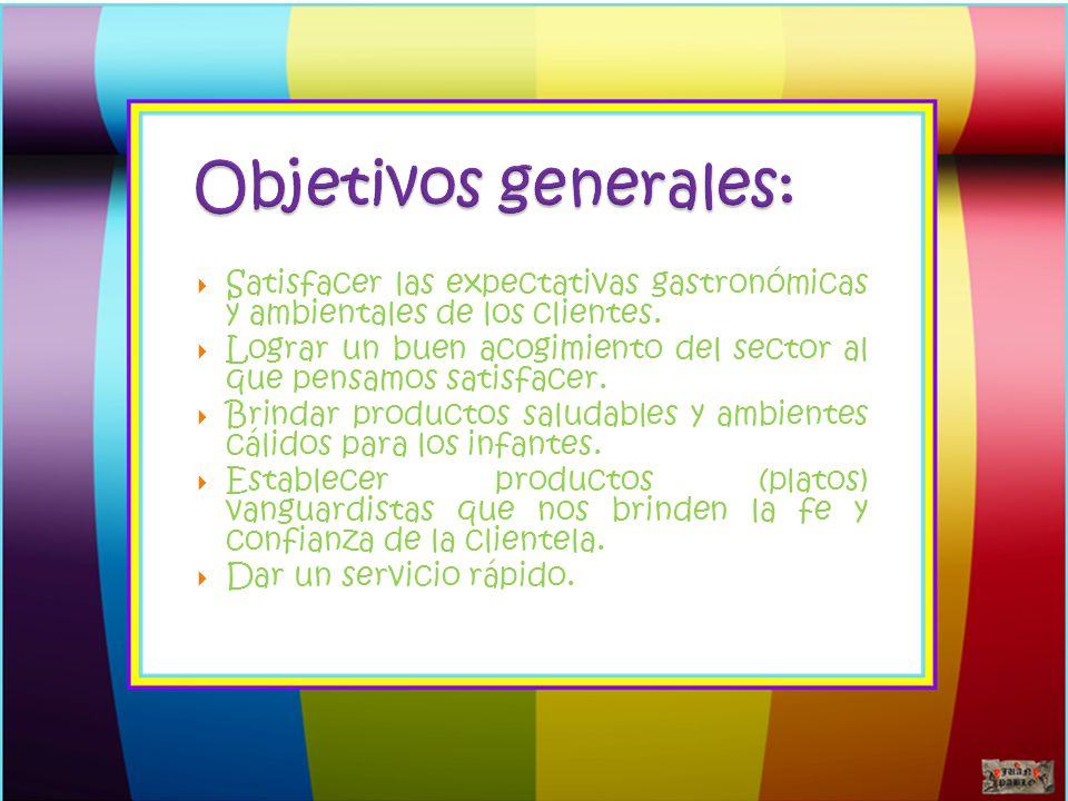 Objetivos generales: Satisfacer las expectativas gastronómicas y ambientales de los clientes.