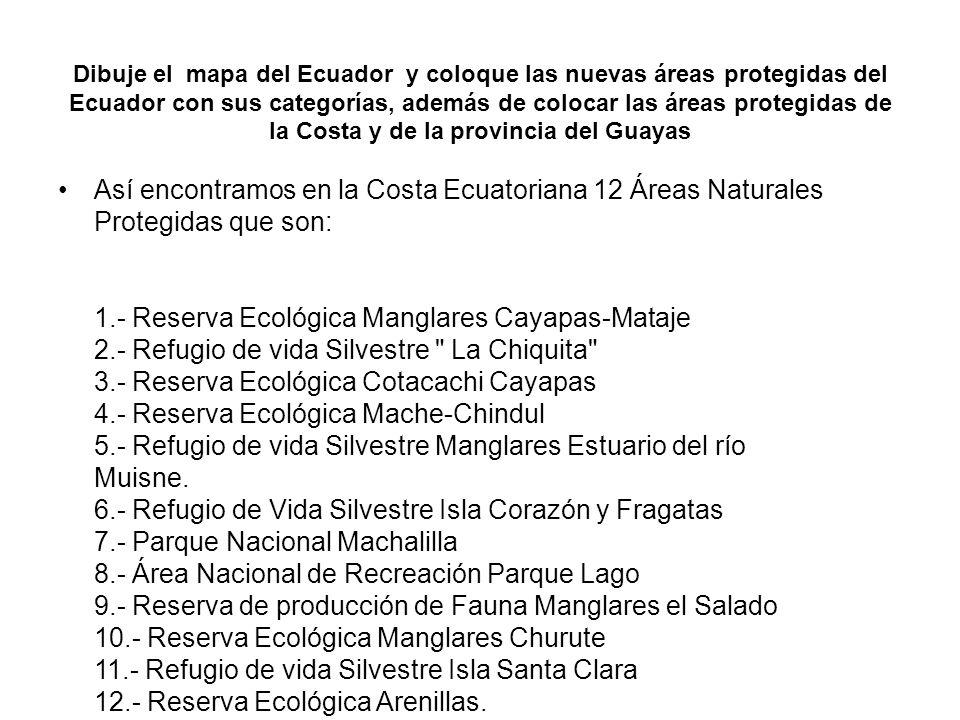 Dibuje el mapa del Ecuador y coloque las nuevas áreas protegidas del Ecuador con sus categorías, además de colocar las áreas protegidas de la Costa y de la provincia del Guayas