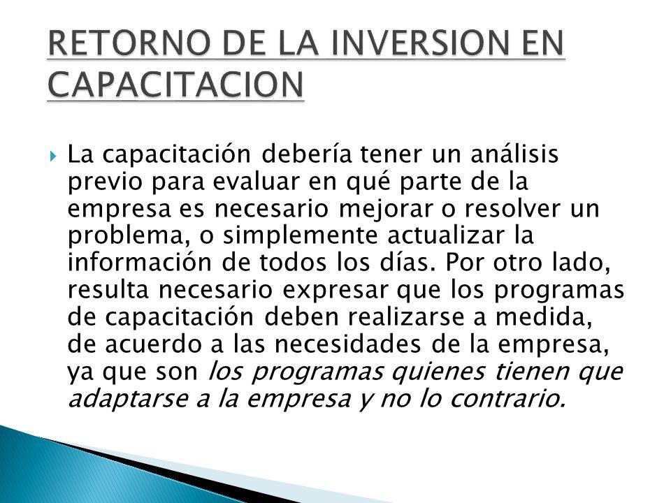 RETORNO DE LA INVERSION EN CAPACITACION