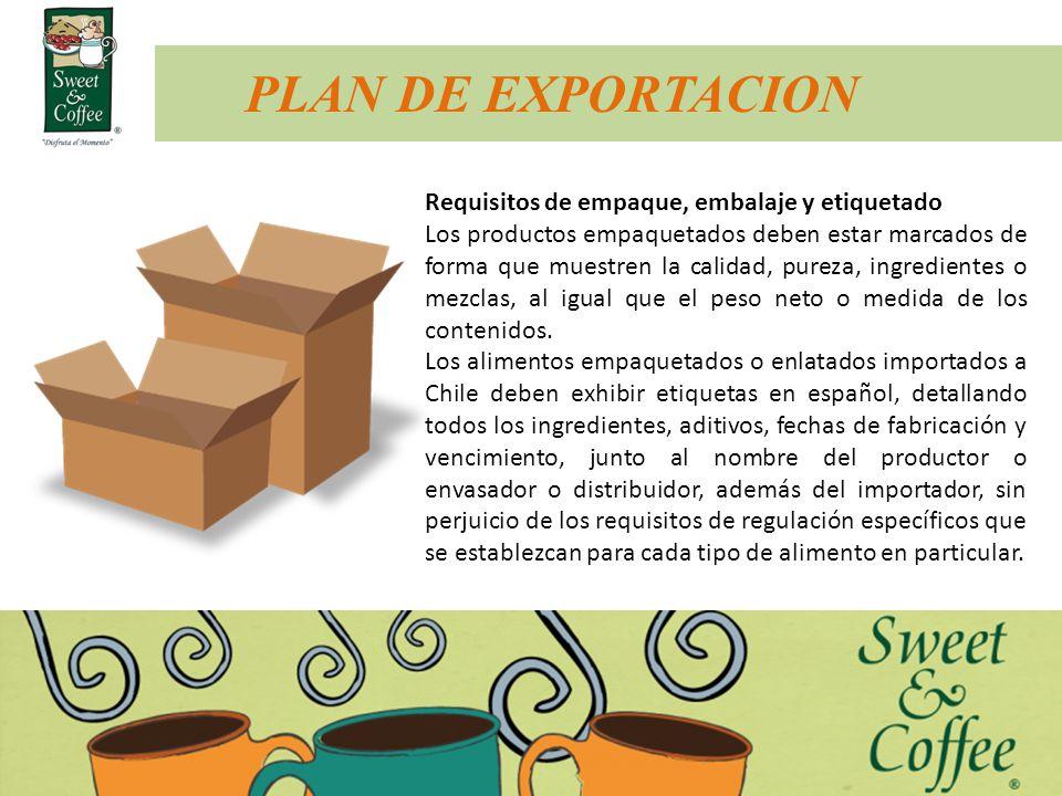 PLAN DE EXPORTACION Requisitos de empaque, embalaje y etiquetado