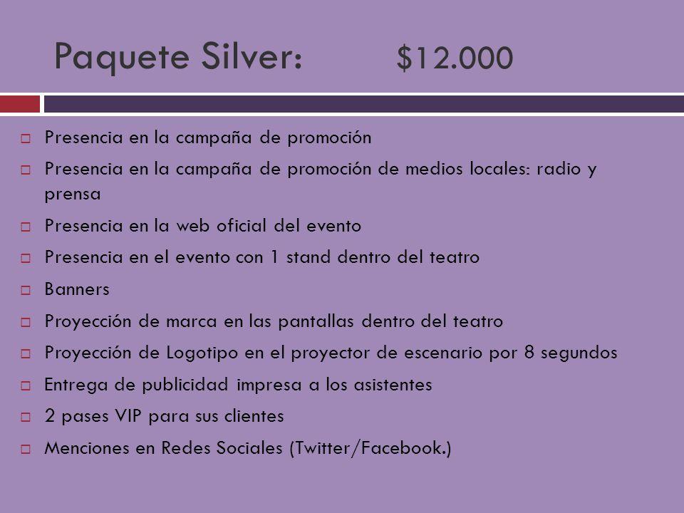 Paquete Silver: $12.000 Presencia en la campaña de promoción
