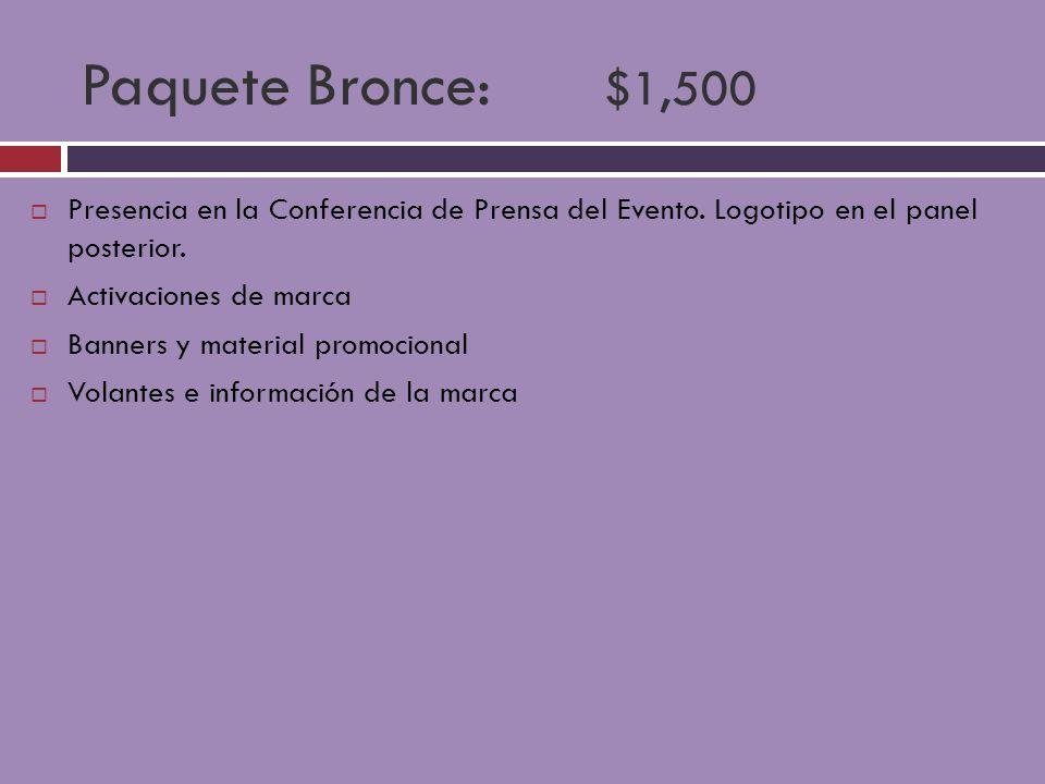Paquete Bronce: $1,500 Presencia en la Conferencia de Prensa del Evento. Logotipo en el panel posterior.