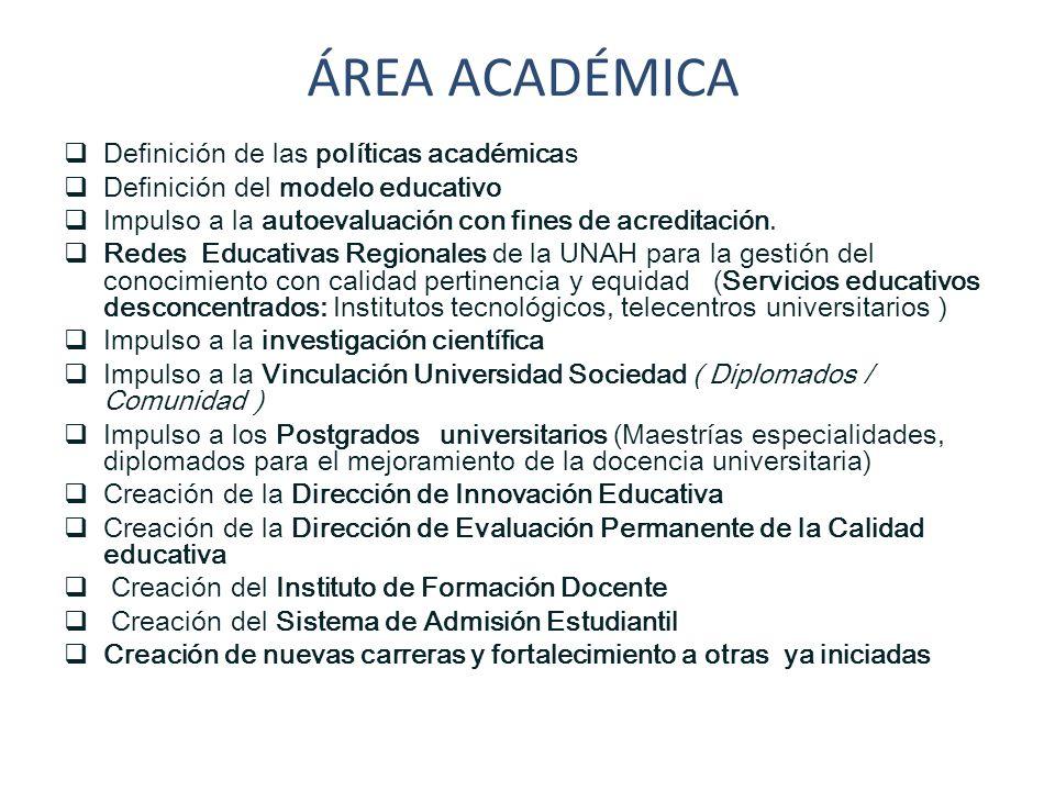 ÁREA ACADÉMICA Definición de las políticas académicas
