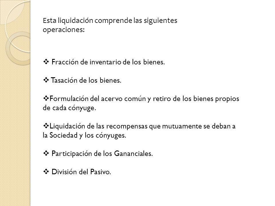 Esta liquidación comprende las siguientes operaciones: