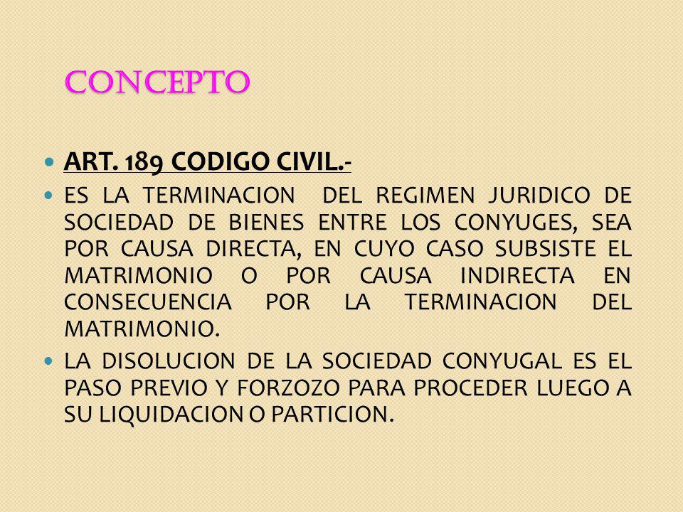 CONCEPTO ART. 189 CODIGO CIVIL.-