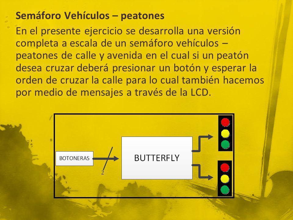 Semáforo Vehículos – peatones En el presente ejercicio se desarrolla una versión completa a escala de un semáforo vehículos – peatones de calle y avenida en el cual si un peatón desea cruzar deberá presionar un botón y esperar la orden de cruzar la calle para lo cual también hacemos por medio de mensajes a través de la LCD.