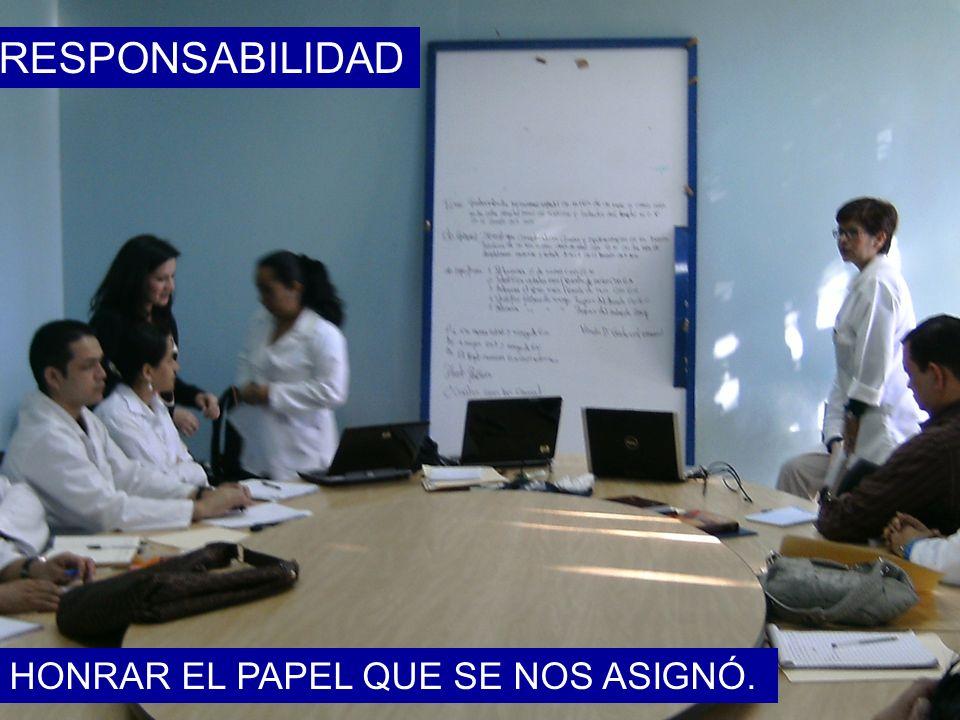 RESPONSABILIDAD HONRAR EL PAPEL QUE SE NOS ASIGNÓ.