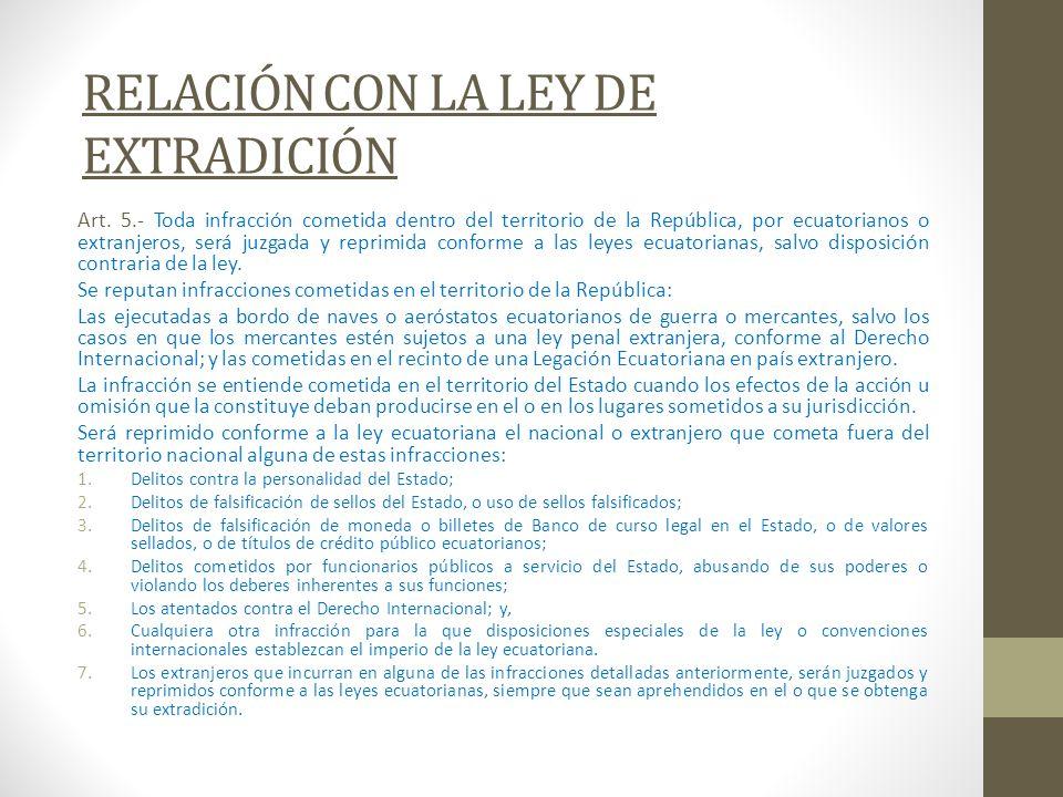 RELACIÓN CON LA LEY DE EXTRADICIÓN