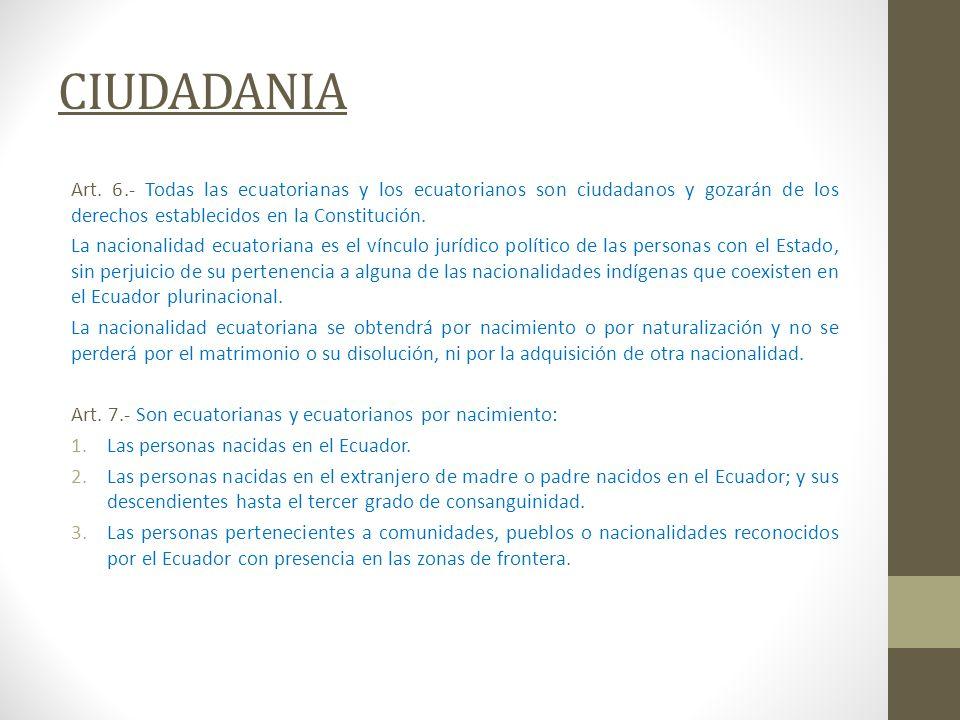 CIUDADANIA Art. 6.- Todas las ecuatorianas y los ecuatorianos son ciudadanos y gozarán de los derechos establecidos en la Constitución.