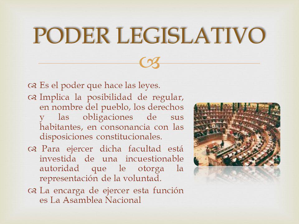 poder legislativo Es el poder que hace las leyes.