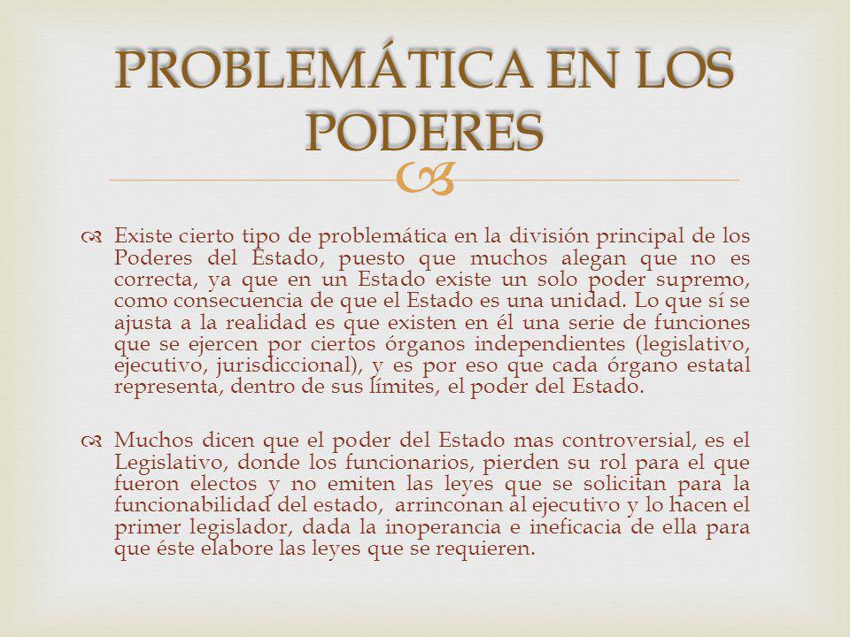 PROBLEMÁTICA EN LOS PODERES
