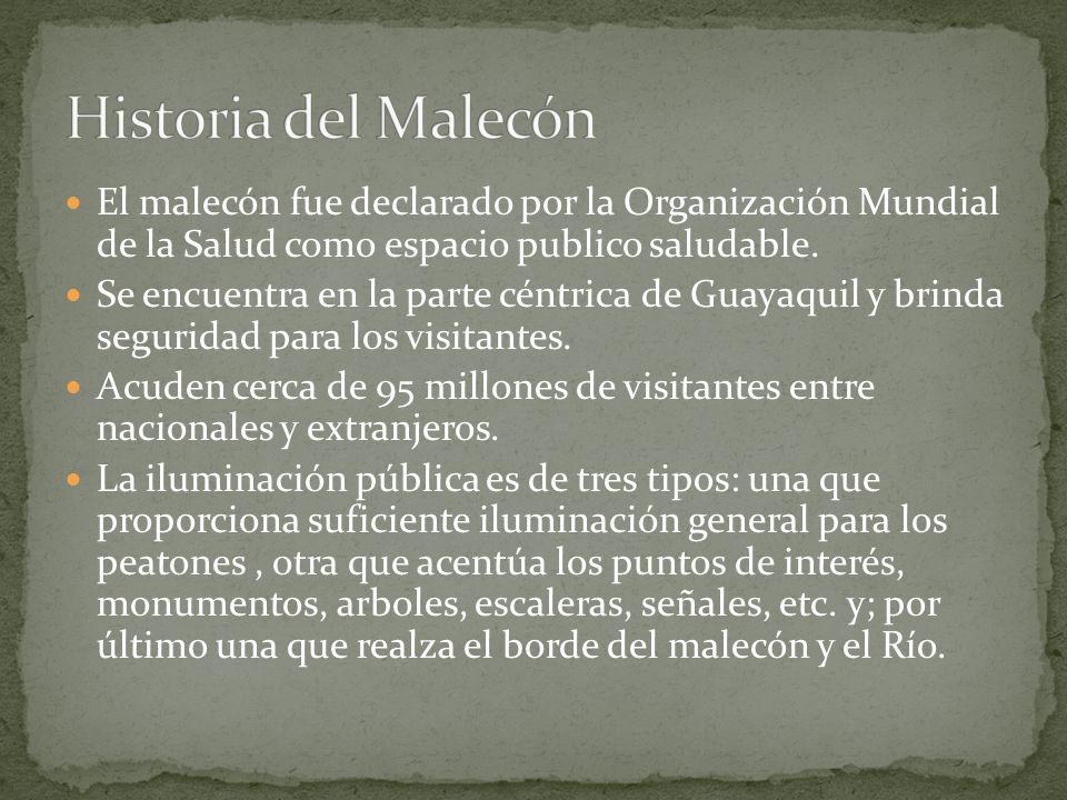 Historia del Malecón El malecón fue declarado por la Organización Mundial de la Salud como espacio publico saludable.