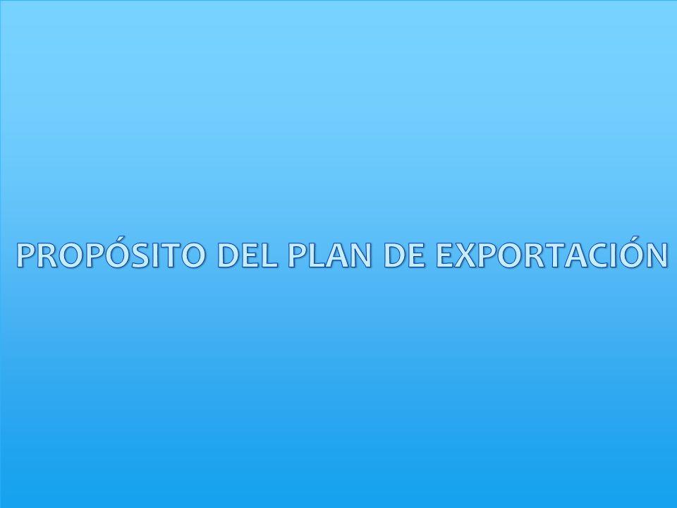 PROPÓSITO DEL PLAN DE EXPORTACIÓN