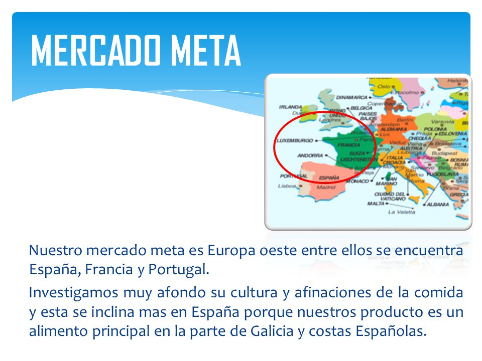 MERCADO META Nuestro mercado meta es Europa oeste entre ellos se encuentra España, Francia y Portugal.