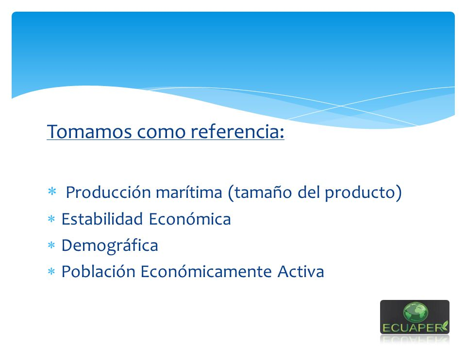 Tomamos como referencia: Producción marítima (tamaño del producto)