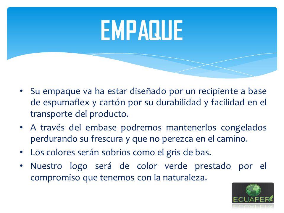 EMPAQUE Su empaque va ha estar diseñado por un recipiente a base de espumaflex y cartón por su durabilidad y facilidad en el transporte del producto.