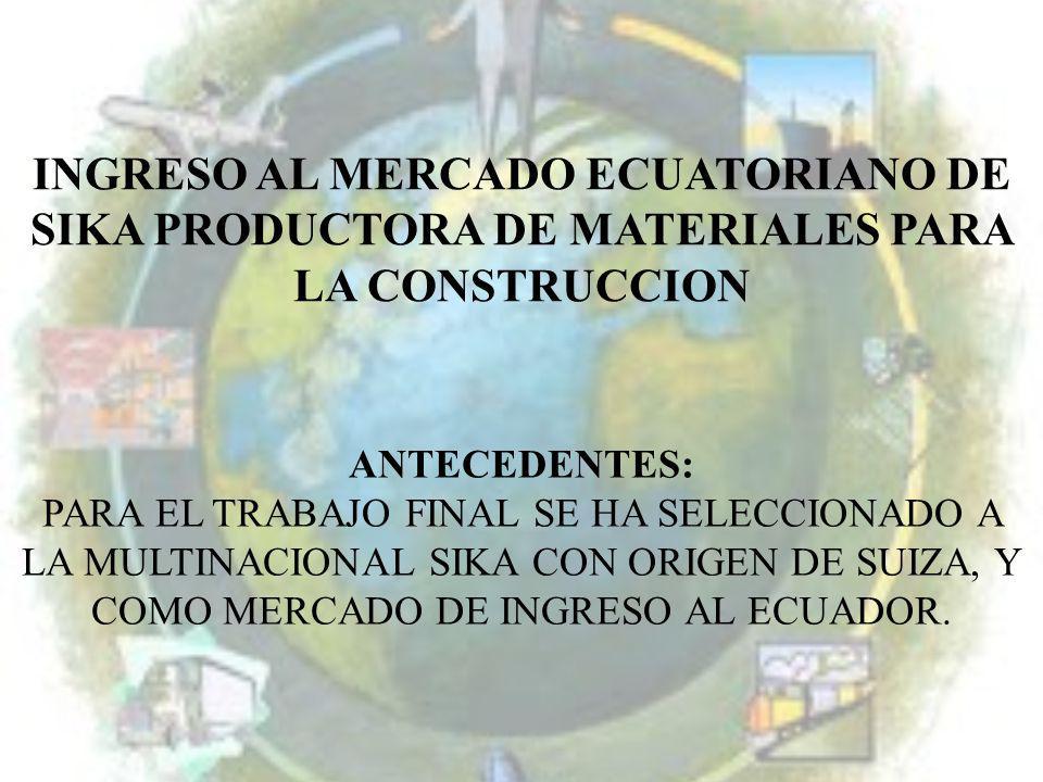 INGRESO AL MERCADO ECUATORIANO DE SIKA PRODUCTORA DE MATERIALES PARA LA CONSTRUCCION