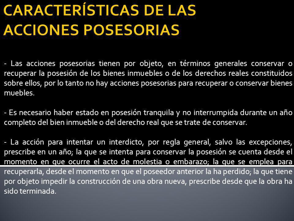 CARACTERÍSTICAS DE LAS ACCIONES POSESORIAS