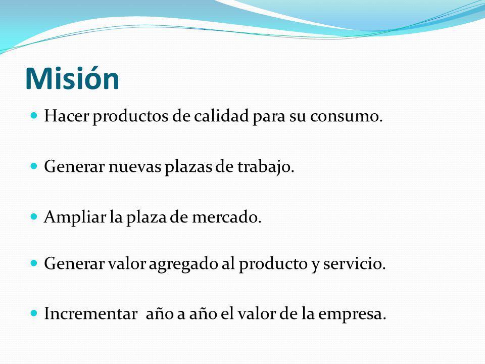 Misión Hacer productos de calidad para su consumo.