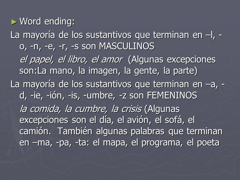Word ending: La mayoría de los sustantivos que terminan en –l, -o, -n, -e, -r, -s son MASCULINOS.