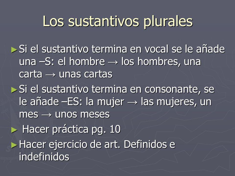 Los sustantivos plurales