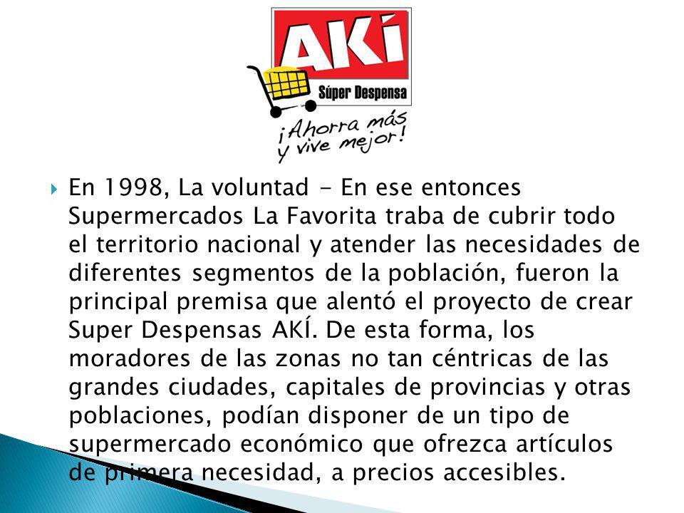 En 1998, La voluntad - En ese entonces Supermercados La Favorita traba de cubrir todo el territorio nacional y atender las necesidades de diferentes segmentos de la población, fueron la principal premisa que alentó el proyecto de crear Super Despensas AKÍ.