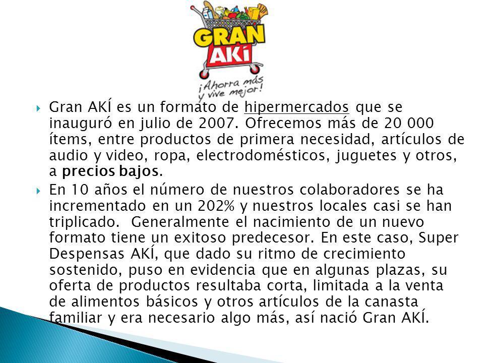 Gran AKÍ es un formato de hipermercados que se inauguró en julio de 2007. Ofrecemos más de 20 000 ítems, entre productos de primera necesidad, artículos de audio y video, ropa, electrodomésticos, juguetes y otros, a precios bajos.