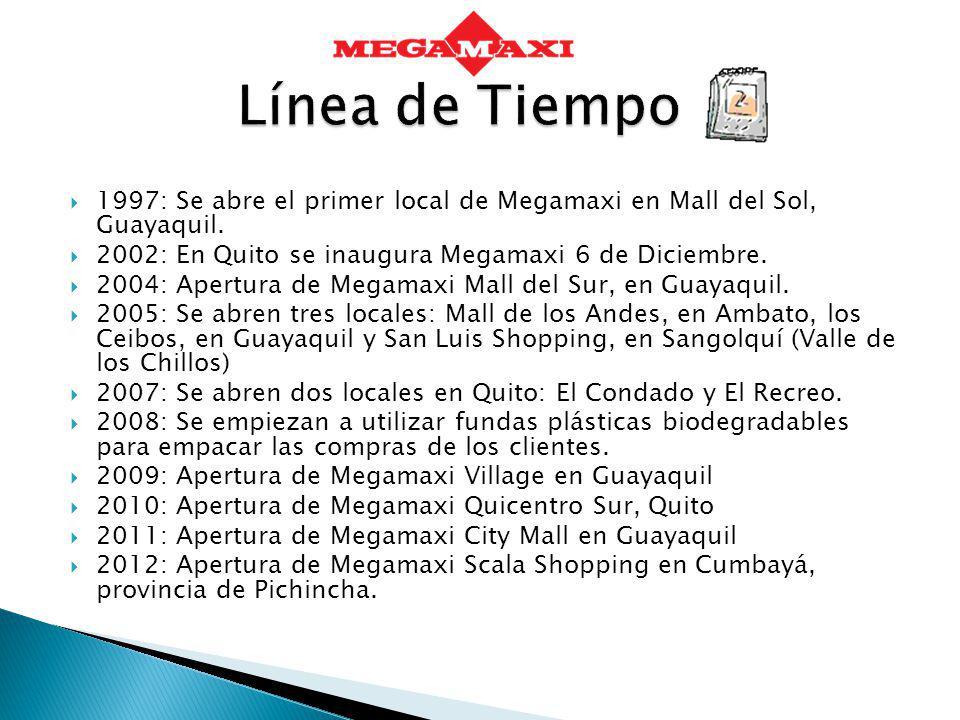 Línea de Tiempo 1997: Se abre el primer local de Megamaxi en Mall del Sol, Guayaquil. 2002: En Quito se inaugura Megamaxi 6 de Diciembre.