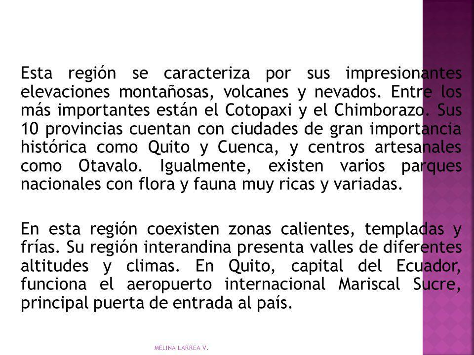 Esta región se caracteriza por sus impresionantes elevaciones montañosas, volcanes y nevados. Entre los más importantes están el Cotopaxi y el Chimborazo. Sus 10 provincias cuentan con ciudades de gran importancia histórica como Quito y Cuenca, y centros artesanales como Otavalo. Igualmente, existen varios parques nacionales con flora y fauna muy ricas y variadas.