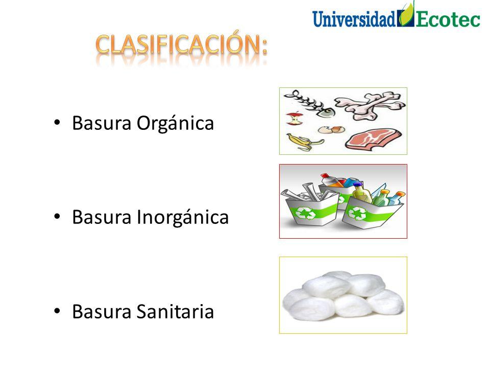 CLASIFICACIÓN: Basura Orgánica Basura Inorgánica Basura Sanitaria