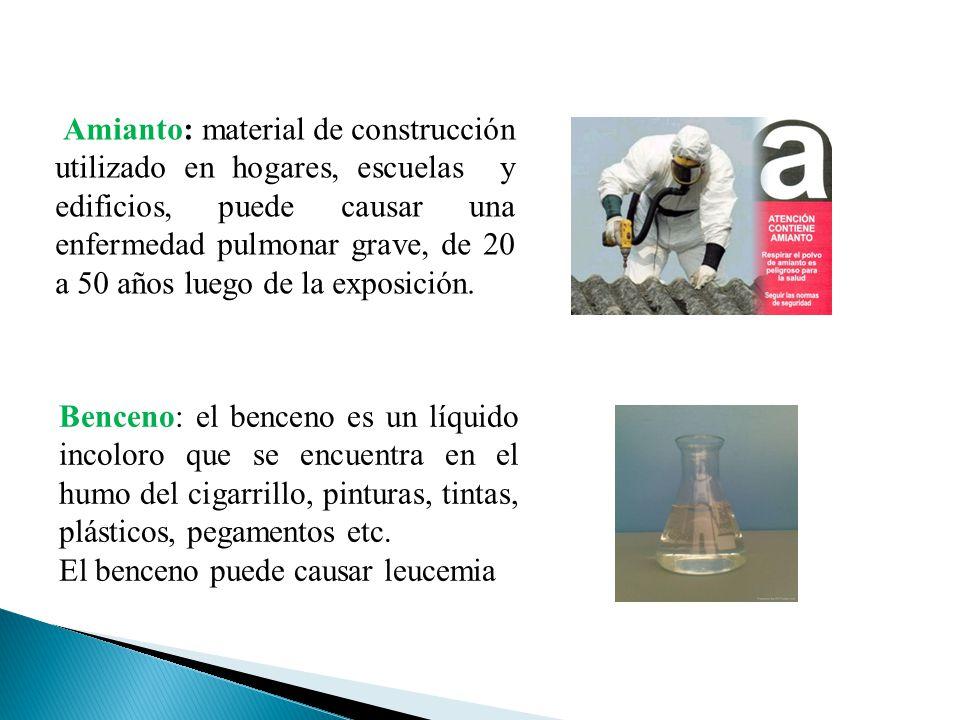 Amianto: material de construcción utilizado en hogares, escuelas y edificios, puede causar una enfermedad pulmonar grave, de 20 a 50 años luego de la exposición.