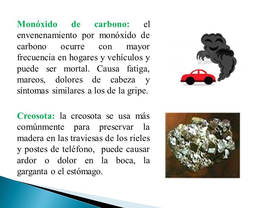 Monóxido de carbono: el envenenamiento por monóxido de carbono ocurre con mayor frecuencia en hogares y vehículos y puede ser mortal. Causa fatiga, mareos, dolores de cabeza y síntomas similares a los de la gripe.