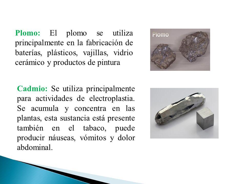 Plomo: El plomo se utiliza principalmente en la fabricación de baterías, plásticos, vajillas, vidrio cerámico y productos de pintura