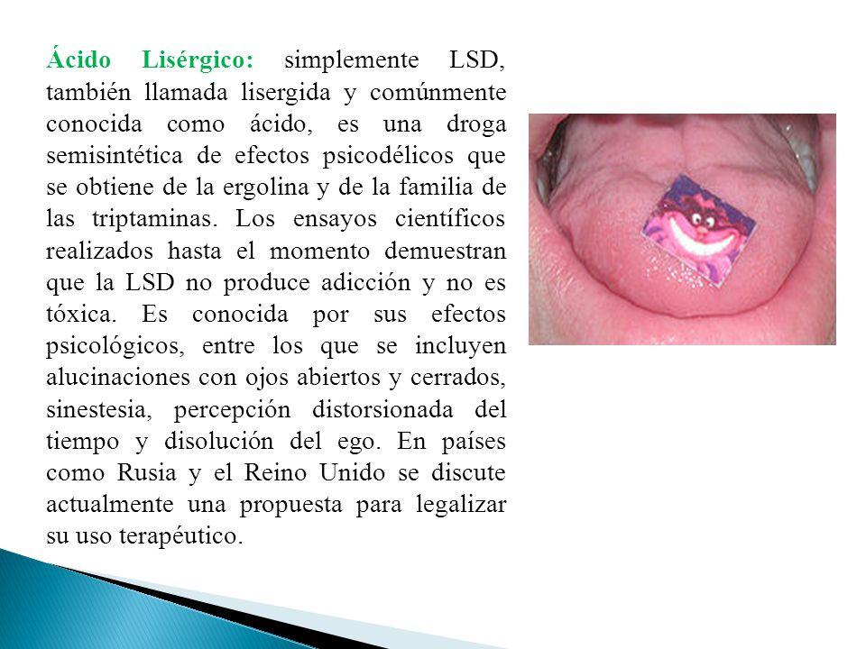 Ácido Lisérgico: simplemente LSD, también llamada lisergida y comúnmente conocida como ácido, es una droga semisintética de efectos psicodélicos que se obtiene de la ergolina y de la familia de las triptaminas.