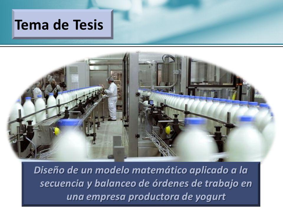 Tema de Tesis Diseño de un modelo matemático aplicado a la secuencia y balanceo de órdenes de trabajo en una empresa productora de yogurt.