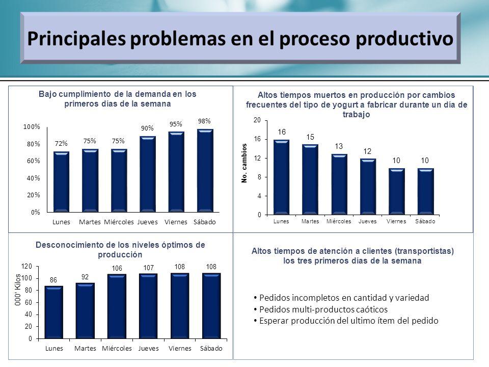 Principales problemas en el proceso productivo