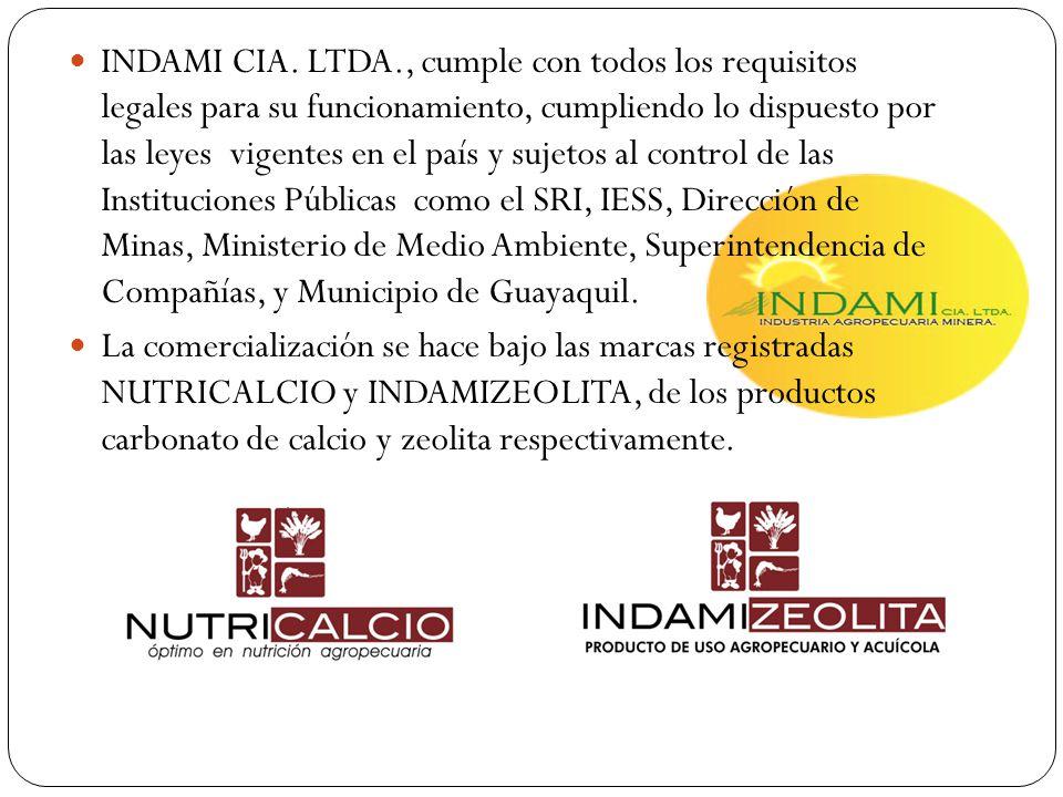INDAMI CIA. LTDA., cumple con todos los requisitos legales para su funcionamiento, cumpliendo lo dispuesto por las leyes vigentes en el país y sujetos al control de las Instituciones Públicas como el SRI, IESS, Dirección de Minas, Ministerio de Medio Ambiente, Superintendencia de Compañías, y Municipio de Guayaquil.