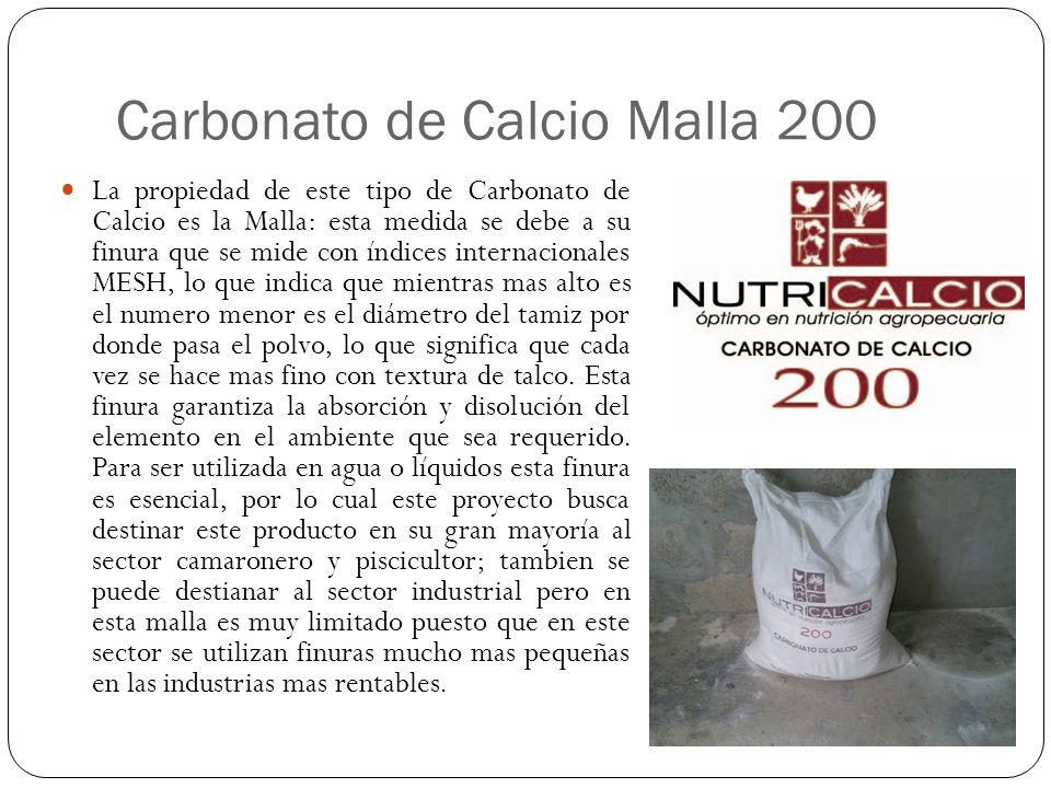 Carbonato de Calcio Malla 200