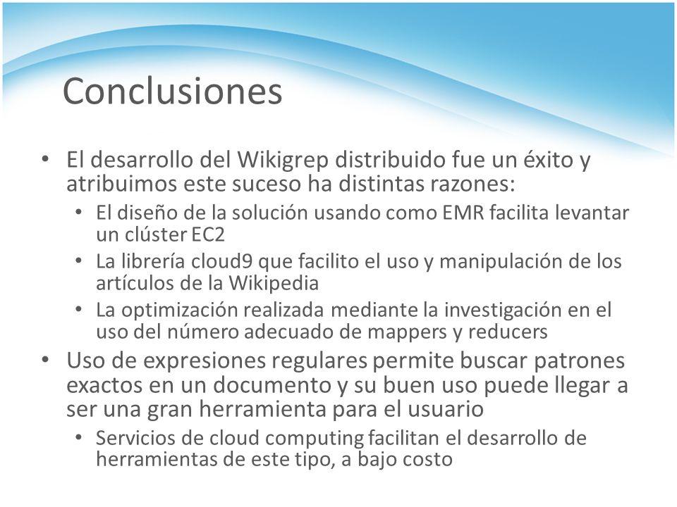Conclusiones El desarrollo del Wikigrep distribuido fue un éxito y atribuimos este suceso ha distintas razones: