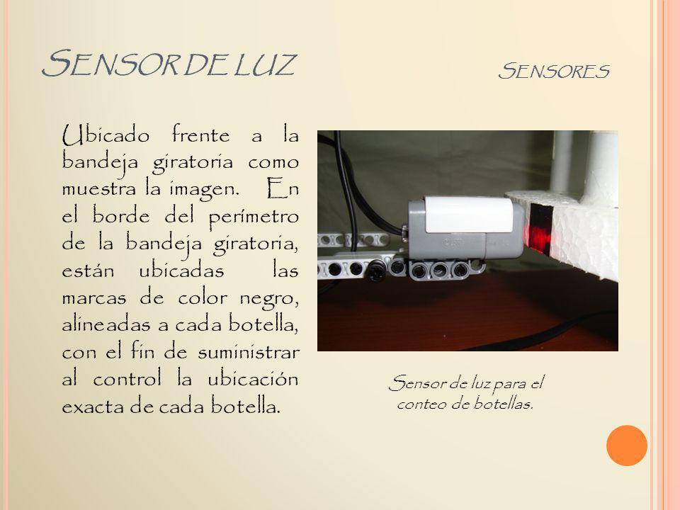 Sensor de luz para el conteo de botellas.