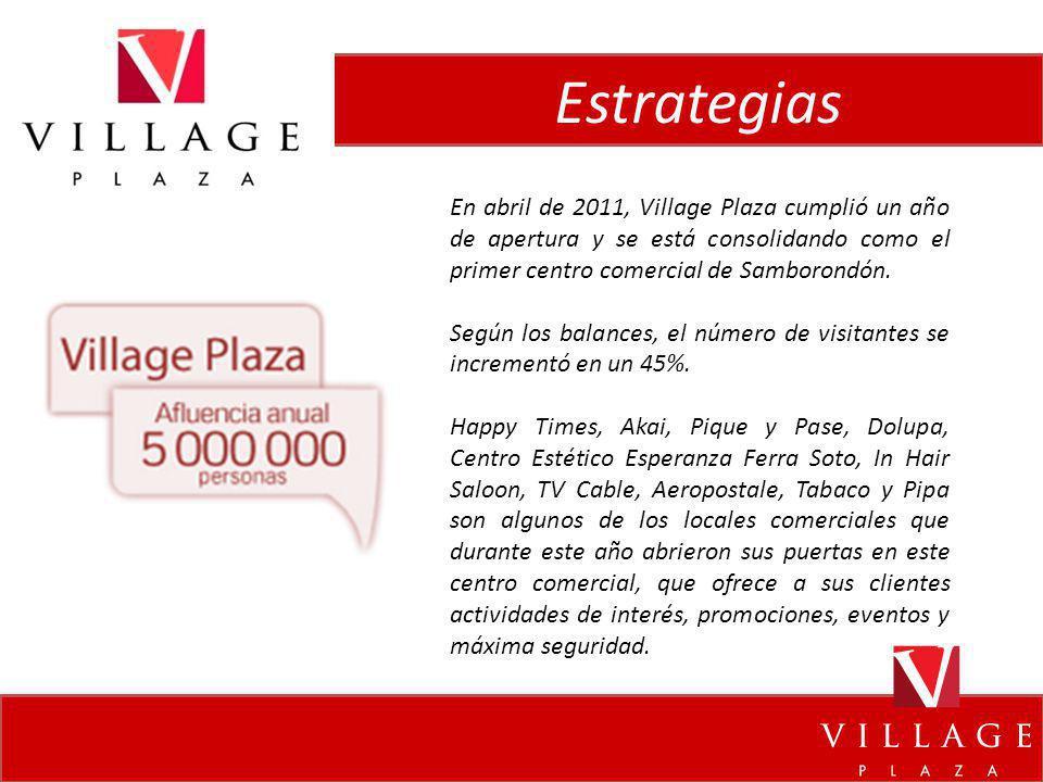 Estrategias En abril de 2011, Village Plaza cumplió un año de apertura y se está consolidando como el primer centro comercial de Samborondón.