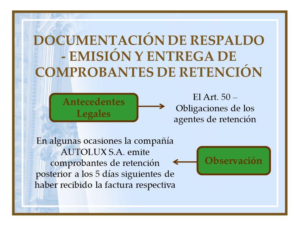 El Art. 50 – Obligaciones de los agentes de retención