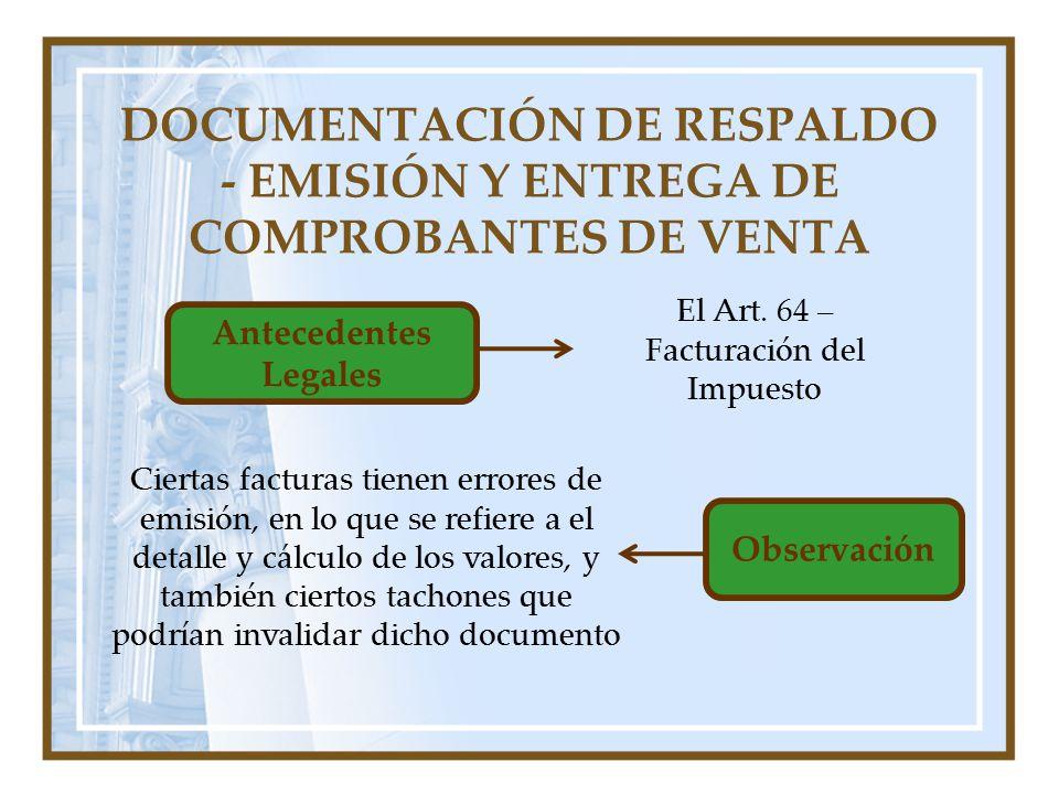 DOCUMENTACIÓN DE RESPALDO - EMISIÓN Y ENTREGA DE COMPROBANTES DE VENTA