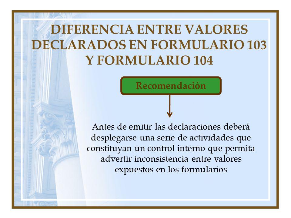 DIFERENCIA ENTRE VALORES DECLARADOS EN FORMULARIO 103 Y FORMULARIO 104