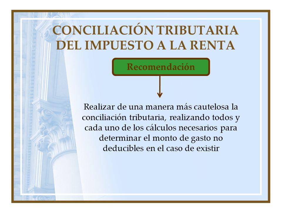 CONCILIACIÓN TRIBUTARIA DEL IMPUESTO A LA RENTA