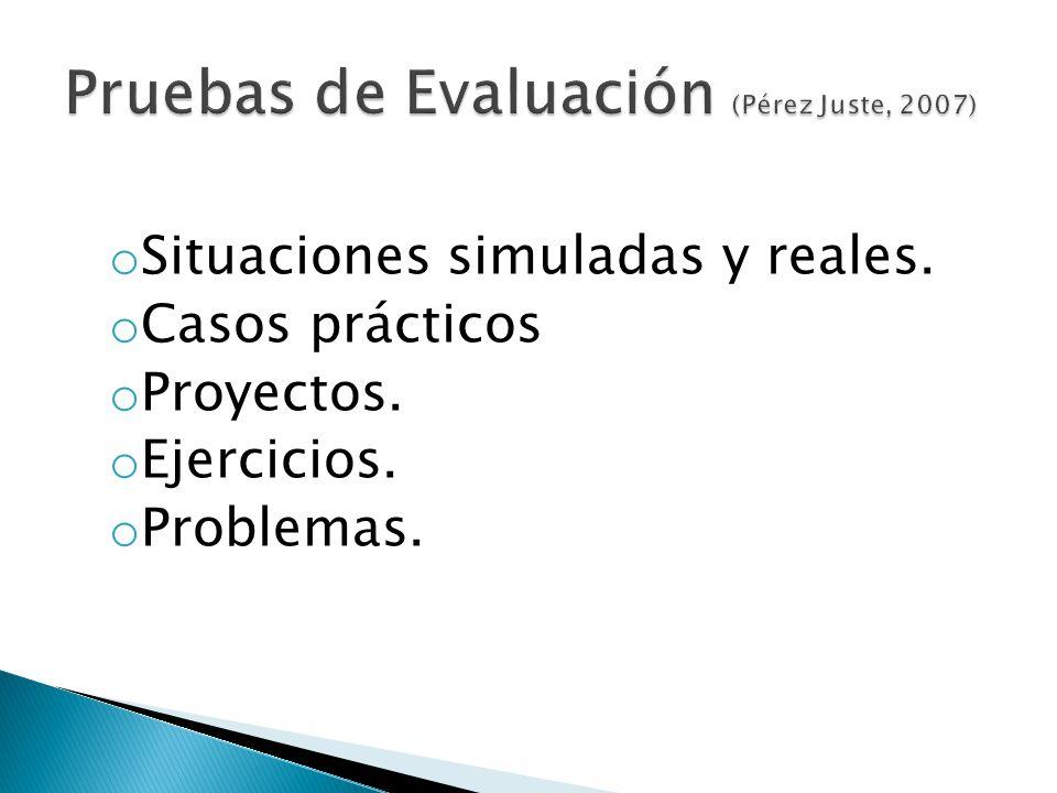 Pruebas de Evaluación (Pérez Juste, 2007)