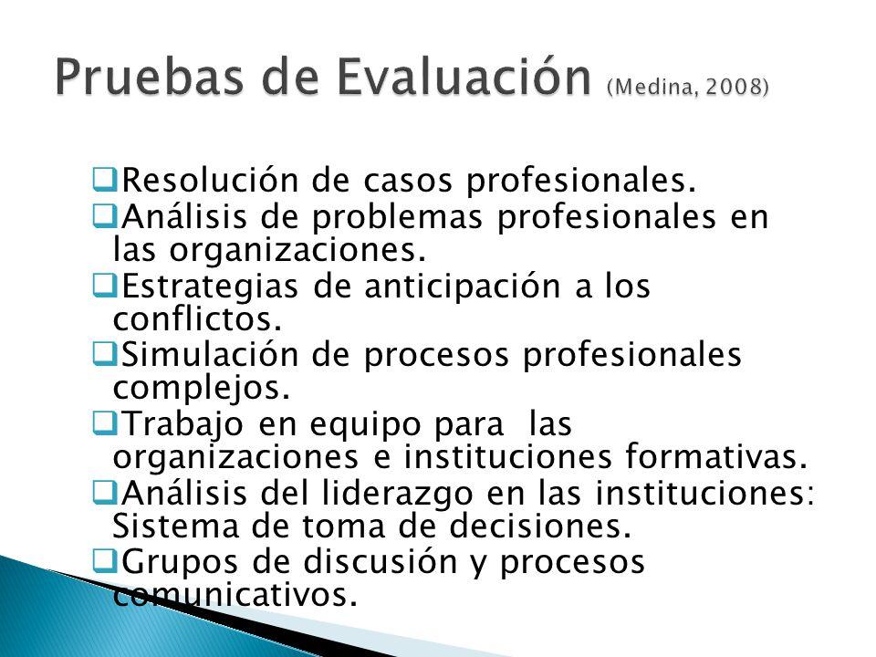 Pruebas de Evaluación (Medina, 2008)